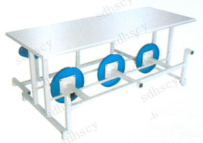 山东鸿盛不锈钢连体六人玻璃钢圆凳折叠餐桌椅